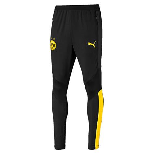 PUMA Herren BVB Training Pants Pro with Zip Pockets Trainingshose, Black/Cyber Yellow, L