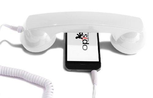 Opis 60s Micro - Retro Handyhörer für Smartphones und Handys in der Form eines klassischen Telefonhörers (weiß)