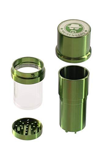 Heisenberg Alu-Grinder Gewürzmühle Kräutermühle aus CNC gefrästem Aluminium (Grün)