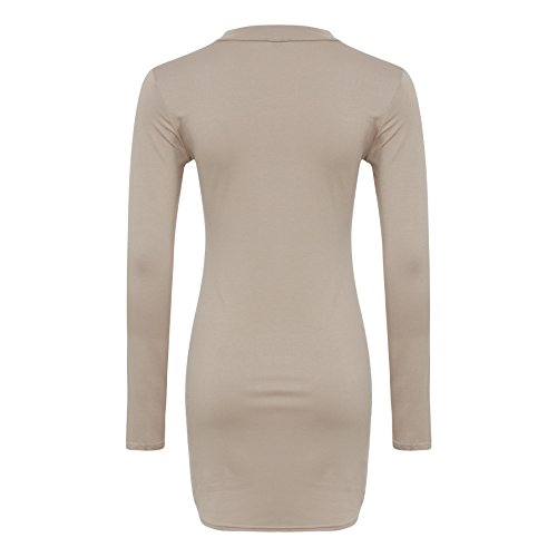 Mesdames Bodycon V -Cut Neck Dress Taille 36-42 Or rose