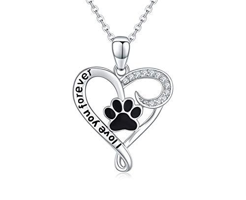 Damen Kette Pfote Hund Katze Anhänger Halskette Echt 925 Sterling Silber Herz Pfotenabdrücke Valentinstag Geschenk für Frauen (Pfote kette) -