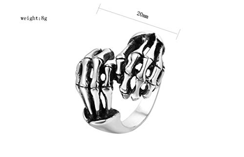 Lafeil Ringe Männer Edelstahl Ringe Silber Irisch Knochen Silber Gr. 65 (20.7) 20mm Breit 8g Gothicring (Irische Claddagh-ring Für Männer)