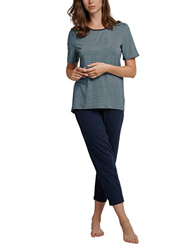 Schiesser Damen Anzug 7/8, 1/2 Arm Zweiteiliger Schlafanzug, Blau (Nachtblau 804), 40 (Herstellergröße: 040) -