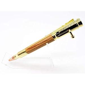 Geschenk für Jäger – Mauser K98k Originalschaft Repetierkugelschreiber – gold – Gravur auf Stift bzw. Lederetui möglich