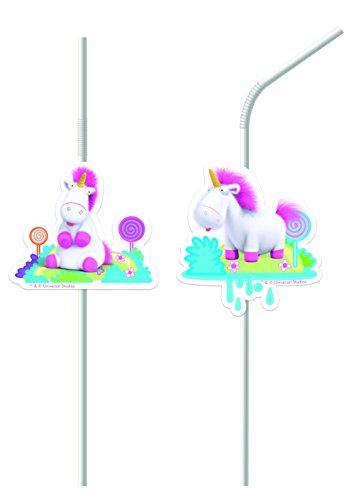 Neu: Nouveauté : 6 pailles * Fluffy * pour Anniversaires d'enfants, Minions Moi, Moche et méchant Motto Motto Anniversaire Paille Rose