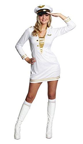 Karneval-Klamotten Kapitän Kostüm Damen Kapitänskostüm Marine Offiziersdame weiß-Gold Karneval Damenkostüm Größe ()
