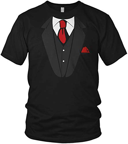 Fake Anzug Falscher Smoking mit Krawatte Aufdruck JGA - Herren T-Shirt und Männer Tshirt, Größe:XL, Farbe:Schwarz/Rot