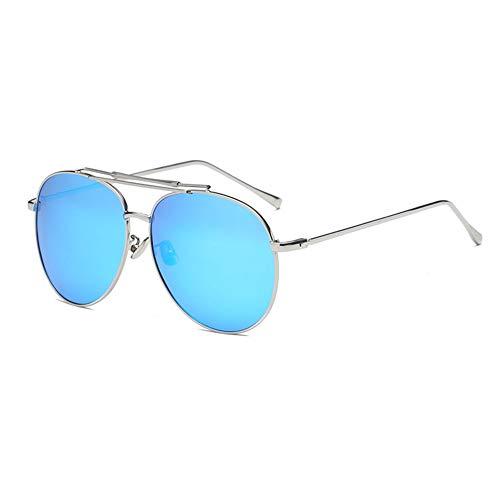 HYJMJJ Klassische Aviator Polarisierte Sonnenbrille Für Männer Frauen Metallrahmen Spiegel UV400 Objektiv Schutzbrille,Blue