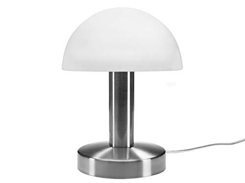 meineWunschleuchte Tischleuchte mit Opal weißem Glasschirm & Fuß in Nickel matt - 3 stufig dimmbar über Berührung - Neue Touch Generation geeignet für LED