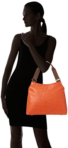 Orla Kiely Embossed Flower Leather Classic Zip Shoulder Bag, Sacs portés épaule Orange (Orange)
