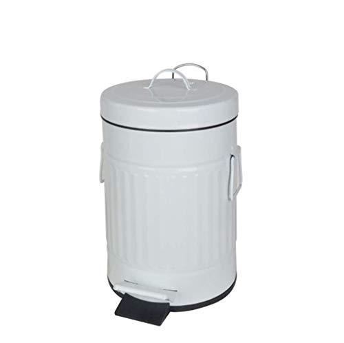 r mit Deckel, Weiß Badezimmer-Schlafzimmer-Mülleimer Absenkautomatik, Retro Vintage Küchenmülleimer, Stahlabfalleimer für Büro, Fußpedal-Schritt, Weiß glänzend (Size : 10L) ()