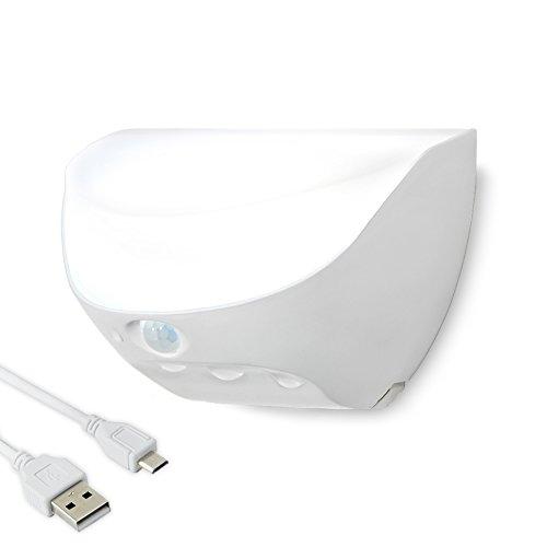 LED Sensor Nachtlicht Wandlampe, Firecore Wasserdichte IP 44 USB Lade Lichter für Schlafzimmer, Küche, Wandschrank, Treppen-Zaun-Lampen im Freienpfad-Garten-Lichter (weiß)
