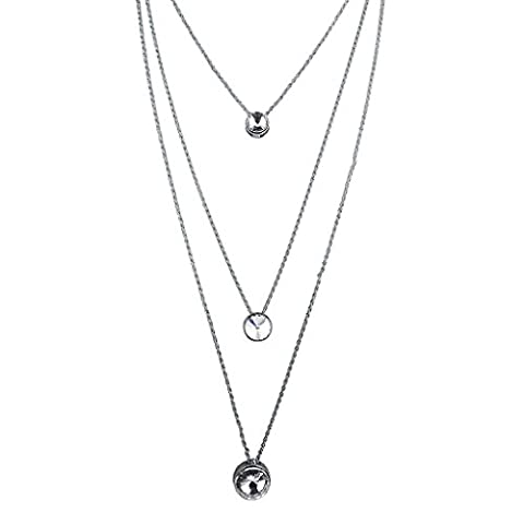 Lux Accessoires Argenté Multi Rangs Cristal Pendentif Cercle Collier