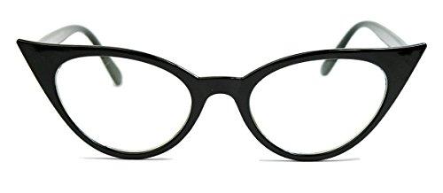 50er Jahre Damen Brille Cat Eye Nerdbrille Klarglas Hornbrille schwarz Party Fasching Karneval