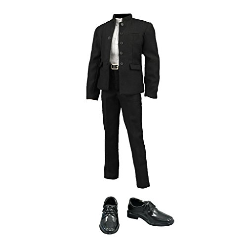 MagiDeal 1/6 Schwarz Chinesischen Tunika Anzug mit Lederschuhe Für 12 Zoll Männliche Figur (Tunika-anzug)