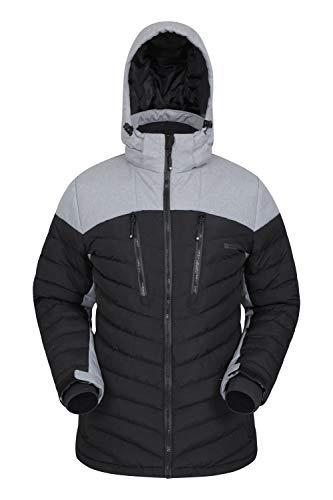 Mountain Warehouse Vulcan Herren-Skijacke - wasserdichte Snowboardjacke, warme, atmungsaktive Winterjacke, verschweißte Nähte, Schneefang, Skipass Tasche Schwarz Medium