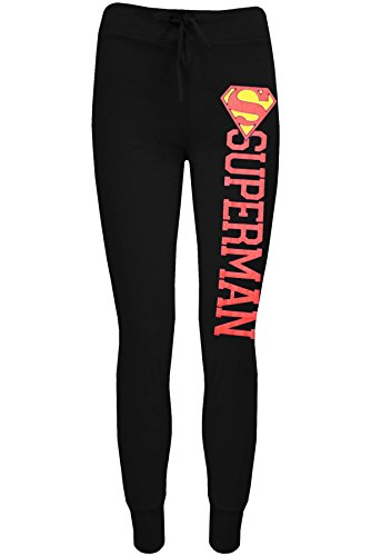 Damen Comic Superman Batman-Logo Trainingshose Jogging Hose Hose Übergröße - Superman Schwarz, 44-46