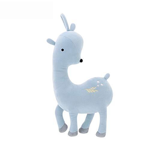 PANGDUDU Cute Alpaca Baby Peluche Cuscino Ragdoll Bambola Orso Cucciolo Compleanno/Regalo di San Valentino, Grigio Cervo Blu, 19 * 35 Cm