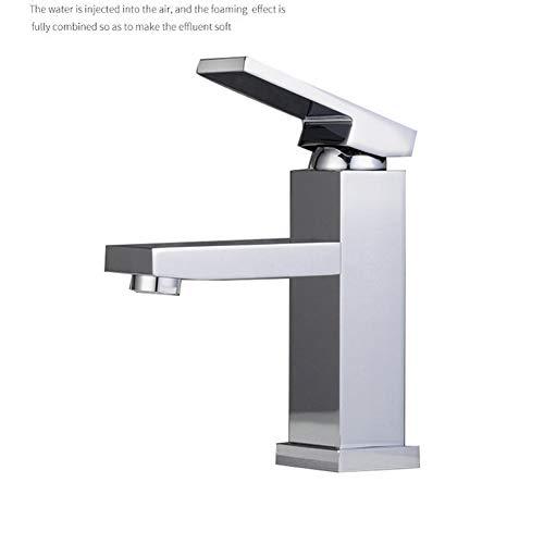Damlou Einlochmontage-Wasserhahn, Einhand-rechteck-Wasserhahn Mit 2 Versorgungsschläuchen, Chrom/Nickel Gebürstet,Chrome (Vanity Zwei Waschbecken Top)