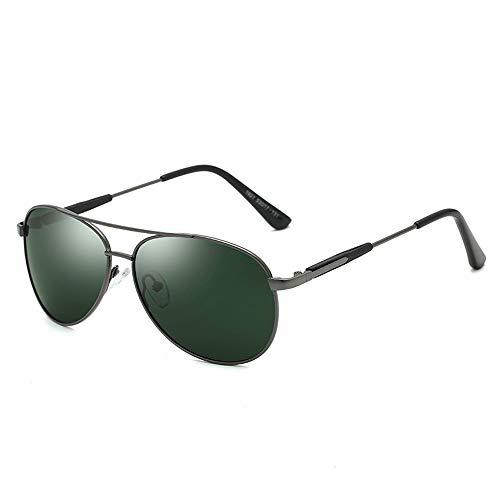 Gläser HD polarisierte Sonnenbrille Trend Metall Driving Sonnenbrille Männer UV-Schutz Sonnenbrille Brillen (Color : Dark Sliver, Size : Kostenlos)