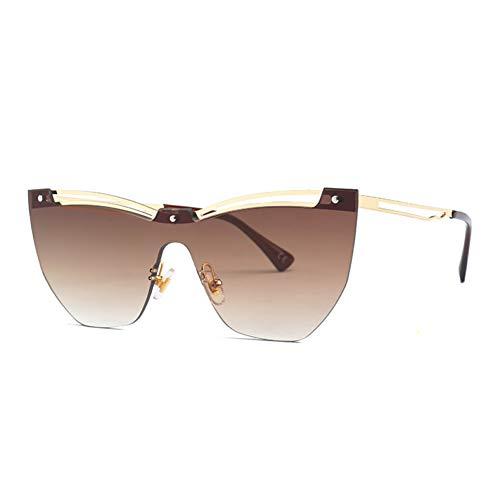 Yuanz Männer Randlose Sonnenbrille mit Farbverlauf Frauen Markendesigner Übergroße Cat Eye Sonnenbrille Damen Retro Big Frame Shades,C02