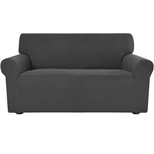 Greatime Stretch Sofabezug,Sofaüberwurf,Sofaüberzug,Sofahusse,Couchbezug,Möbelschutz,Rutschfest,1-Stück Couch Schild,Haustier-Bezug(Dunkelgrau,2-Sitzer)