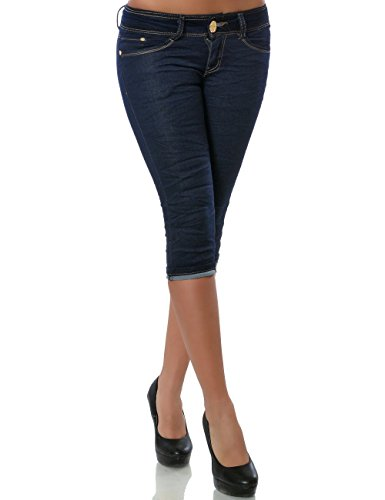 Damen Jeans Capri-Hose Bermuda Kurze Hose No 15548 Blau 36 / S