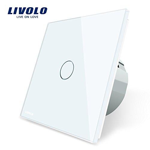 LIVOLO Weiss Lichtschalter mit LED Anzeige Licht Touch Sensor Panel aus Kristallglas EU Standard Schalter 1 Fach 1 Weg,VL-C701-11-A