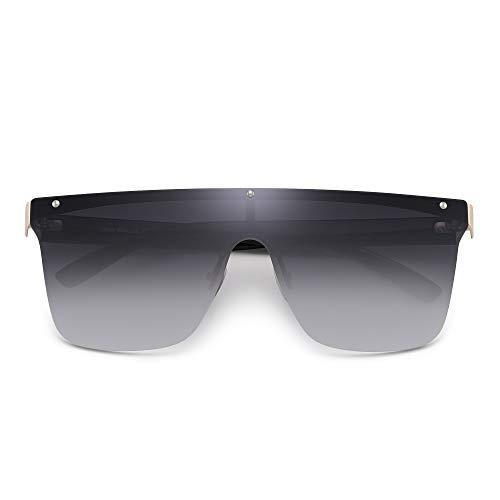 JIM HALO Randlos Schild Sonnenbrillen Ein Stück Flach Top Spiegeln Brillen Damen Herren(Goldrahmen/Gradient Graue Linse)