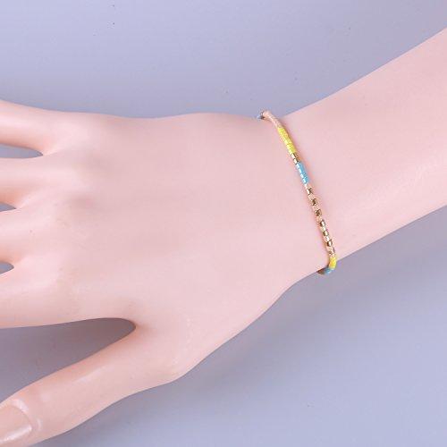 KELITCH Mixte Couleur Perles de Rocaille Mince Corde Chaîne Tressé Bracelet pour Fille Femme #08