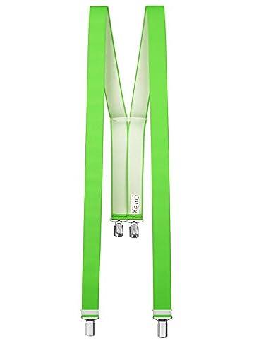 Xeira - Bretelles de haute qualité pour Femmes / Hommes avec 4 clip extra fort 3,5cm large en 10 couleur design differentes - Fabriqué en Allemagne (Neon
