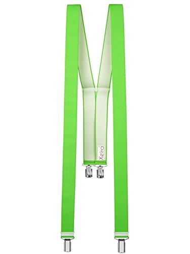 Xeira  Hochwertige Hosenträger in Trendigen Neon Farben mit 4 Clips-Neon Grün