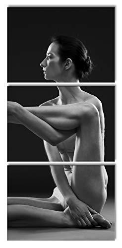 Pixxprint Yoga Femme Svelte macght, Peinture sur Toile XXL surdimensionnée 210x100m Total 3 pièces/Peinture Murale/tirage d'art