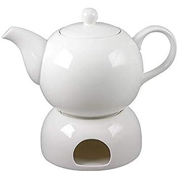Schöne weiße Teekanne mit Stövchen aus Porzellan 1,0 ltr. mit ...