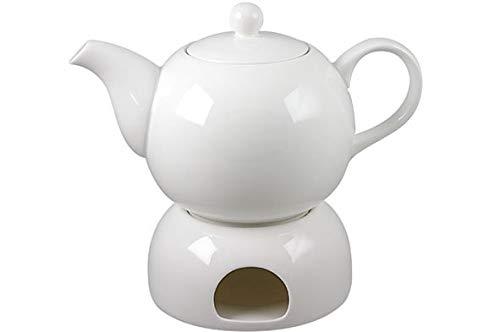 Schöne weiße Teekanne mit Stövchen aus Porzellan 1,0 ltr. mit Teelicht (BL24)