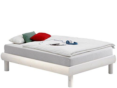 Bett OCTAVE 90 x 190 cm aus Kiefer massiv ohne Kopfteil ohne Endteil. (weiß)