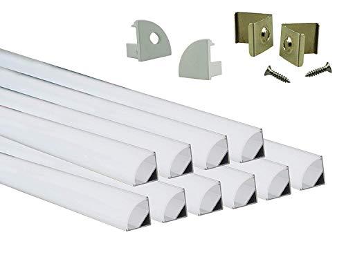 Muzata LED-Aluminium-Kanal mit milchiger weißer PC-Abdeckung für Lichtleisten, Aluminium-Extrusions-Schienenprofil für Streifen, Diffusor-Segmente, 9 x 17 mm, 10 Stück