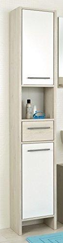 Avanti trendstore - julian - armadio a colonna da bagno, in laminato di pino chiaro e colore bianco lucido, dimensioni lap 33x195,5x28 cm