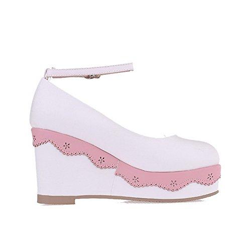 AllhqFashion Damen Rein Weiches Material Hoher Absatz Schnalle Rund Zehe Pumps Schuhe Weiß