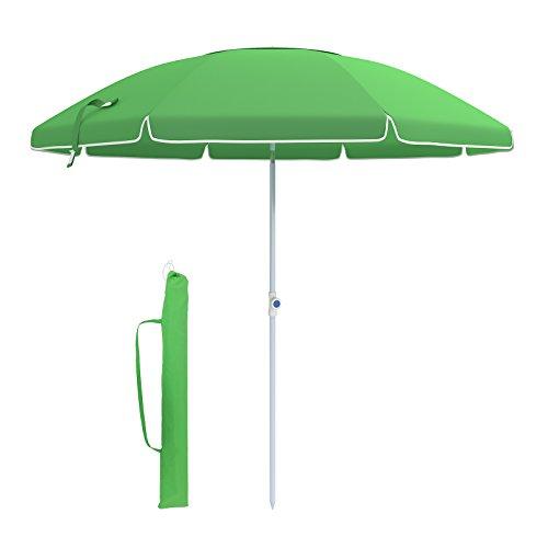 Songmics ombrellone 210 cm parasole da spiaggia, protezione dal sole, tela in poliestere ottagonale, con meccanismo di reclinazione, borsa da trasporto, ventilazione, per spiaggia, giardino, balcone e cortile, verde, gpu17gn