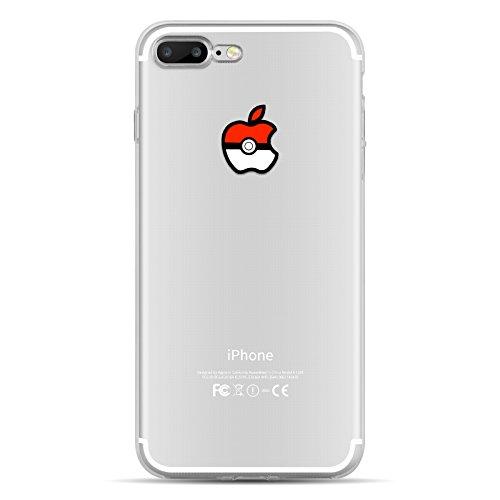 iPhone 8, iPhone 7 Hülle | JAMMYLIZARD Transparente Schutzhülle Sketch Back Cover Case aus Silikon, Mario Brüder POKEBALL