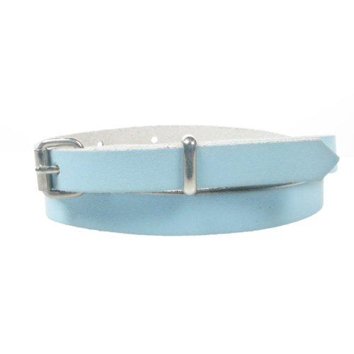 Echt dünn 12mm Fashion Taille Damen Leder Gürtel Hergestellt in Großbritannien. Blau - Babyblau