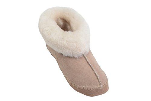 Herren/ Damen Natur Schafsleder Pantoffel Mit Pelz Und Verstellbare Manschette Beige / Weiß