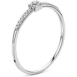 Orovi Bague Femme, Bague de Fiançailles en Or Blanc Bague Solitaire avec Diamants 0.05crt 9 Carat / 375 Or Bijoux