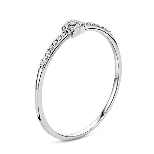 Orovi Damen Verlobungsring Gold Solitärring Diamantring 9 Karat (375) Brillianten 0.052crt Weißgold Ring mit Diamanten