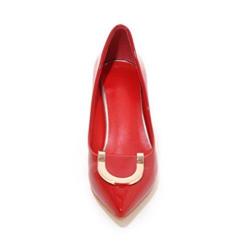 AgooLar Femme Pu Cuir Mosaïque Tire Pointu à Talon Correct Chaussures Légeres Rouge