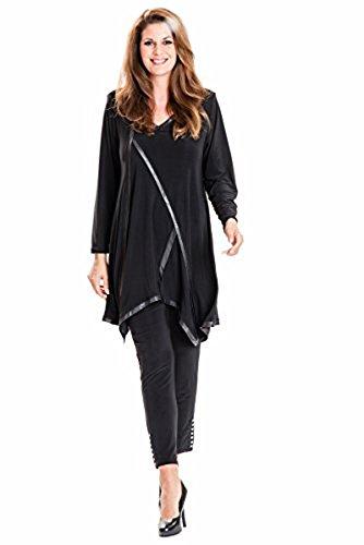 New-fashioned Style Long Tunika Stretch - Lederoptik Besatz schwarz Größe 60 / 62
