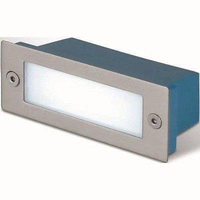 LineteckLED-1012547-Faretto-segnapasso-rettangolare-LED-3W-da-incasso-a-parete-uso-da-esterno-e-da-interno-con-cornice-in-acciaio-satinato-Luce-bianco-naturale-220V-Classe-di-efficienza-energetica-A