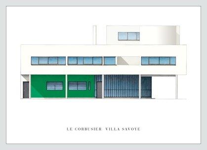 Reproduktion Le Corbusier (Le Corbusier Poster Kunstdruck Bild Villa Savoye im Alu Rahmen in silber matt 56x76cm - Germanposters)