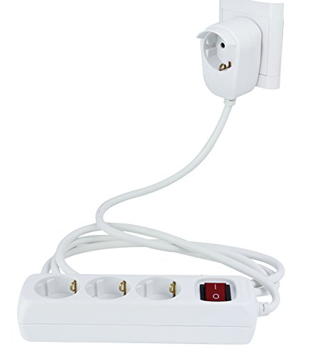REV STECKDOSENLEISTE | 3 fach Steckdose plus 1 ǀ Mehrfachsteckdose mit Schalter und POWERSPLIT | Kindersicherung | Überhitzungsschutz ǀ 2 m Zuleitung | für den Innenbereich | Farbe: weiß